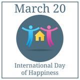 Jour international de bonheur Icône de couples 20 mars Calendrier de vacances de mars Concept de la famille Appareillez des amant illustration libre de droits