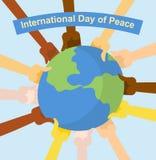 Jour international de paix Mains de HOL différent de nationalités illustration libre de droits
