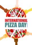 Jour international de pizza Morceaux de prise de main de pizza Illustration de vecteur Images libres de droits