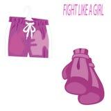 Jour international des femmes s Gants de boxe roses et shorts de sports sur le fond blanc 8 mars illustration de vecteur