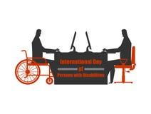 Jour international des personnes avec des incapacités handicapé au travail Photos libres de droits