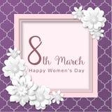 Jour international du ` s de femmes, le cadre rose avec le résumé 3d fleurit sur le modèle pourpre, illustration Image libre de droits