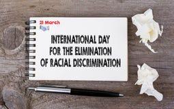 Jour international pour l'élimination de la discrimination raciale, le 21 mars Image stock