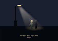 Jour international pour le vecteur d'enfant des rues Image libre de droits