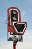 Jour léger de signe de train Photographie stock libre de droits