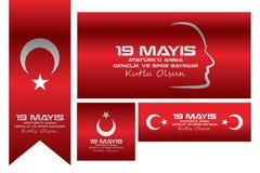 Jour 19 mai de commémoration et de jeunesse et de sports Photographie stock libre de droits