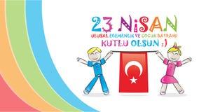 Jour national 23 avril de la souveraineté et des enfants Image libre de droits