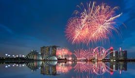 Jour national de feu d'artifice de Singapour Image stock