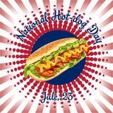 Jour national de hot-dog Vecteur de hot-dog illustration libre de droits