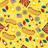 Jour national de hot-dog Vecteur de hot-dog Configuration sans joint Illustration de Vecteur