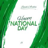 Jour national de l'Arabie Saoudite le 23 septembre contre le contexte du drapeau national du vecteur de l'Arabie Saoudite illustration de vecteur