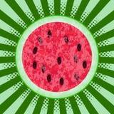 Jour national de pastèque 3 August Watermelon coupé dans la moitié Art de bruit de fond, rayons du centre Texture de l'esprit de  Image libre de droits