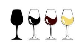Jour national de vin L'icône de verre à vin de silhouette avec le blanc et illustration stock