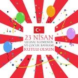 Jour national du ` s 23 avril de la souveraineté et d'enfants en Turquie illustration stock