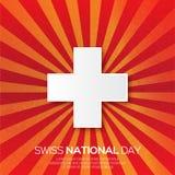 Jour national suisse abstrait Jour de la Déclaration d'Indépendance de la Suisse Origami illustration stock