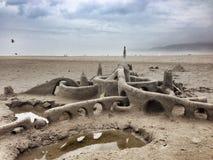 Jour nuageux de plage Photographie stock libre de droits