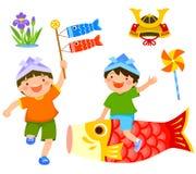 Jour ou Kodomo du ` s d'enfants du ` s du Japon aucun salut Photos libres de droits