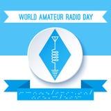 Jour par radio amateur du monde Symbole de radio-amateur, schéma de circuit avec l'antenne, inducteur et terre Code Morse Photographie stock libre de droits