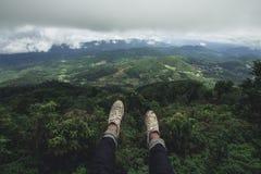 Jour pluvieux de forêt de tourisme de nature Image libre de droits