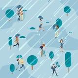 Jour pluvieux en parc avec des parapluies de personnes illustration stock