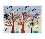 Jour pluvieux, illustration de vecteur Images stock