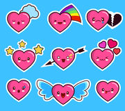 Jour réglé de la valentine s de coeur d'icône drôle d'émoticône Image stock