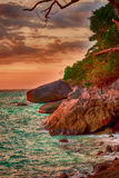 Jour sombre sur la plage Photographie stock libre de droits