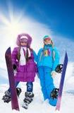 Jour splendide pour des surfs des neiges Images libres de droits