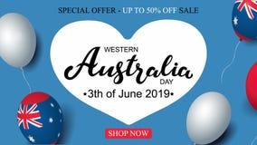 Jour 3th d'Australie occidentale de d?cor australien de drapeau de ballons de calibre de banni?re de c?l?bration de vente de juin illustration stock