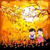 Jour traditionnel coréen de bonne année Les caractères coréens bonne année moyenne, enfants saluent l'automne illustration stock