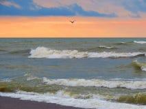 Jour venteux de côte de mer baltique, Lithuanie photographie stock