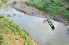 Jour vert de la Thaïlande de canal de fleuve de bateau Image libre de droits