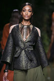 Jourdan Dunn walks the runway during the Balmain show as part of the Paris Fashion Week. PARIS, FRANCE - SEPTEMBER 29: Jourdan Dunn walks the runway during the stock photo