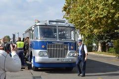 Journée 'portes ouvertes' de public sur le garage de 40 ans Cinkota 39 d'autobus Photographie stock