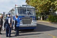 Journée 'portes ouvertes' de public sur le garage de 40 ans Cinkota XII d'autobus Photo stock