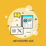 Journal économique avec des annonces et des bulles de la parole Annonce en périodique, concept de commercialisation de méthode illustration libre de droits