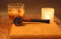 Daily Journal. Journal with whisky and pipe Stock Photography