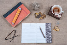 Journal Book and Cup of Tea royalty free stock image