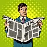 Journal d'actualités de lecture d'homme d'affaires d'homme illustration de vecteur