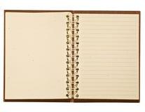Journal de cuir de Brown avec les pages de papier réutilisées par blanc Images stock