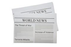 Journal de nouvelles du monde Image stock
