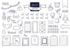 Journal hand drawn elements. Notebook doodle bullets, schedule calendar diary sketch line elements. Vector doodle bullet royalty free illustration