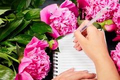 Journal intime d'écriture de main de femme Photographie stock libre de droits