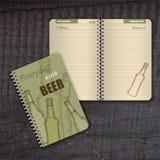Journal intime en spirale de vecteur avec la couverture avec tiré par la main Photo stock