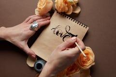Journal intime ou carnet avec amour de mot Photographie stock