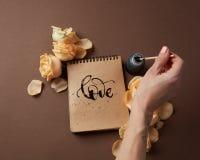Journal intime ou carnet avec amour de mot Image stock