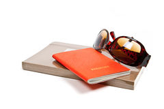 Journal, passport and sunglasses isolated Stock Image