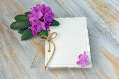 Journal with rhododendron blossom Stock Image