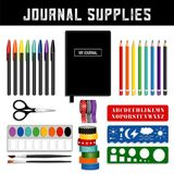 Journal Supplies, art and graphic tools for your journal. royalty free illustration