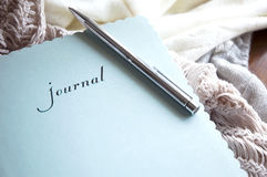 Journal in winter. Writing journal book in winter Stock Photos
